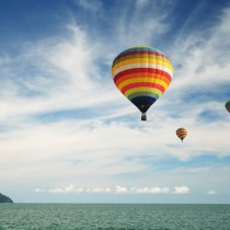Hot air balloon travel over Andaman sea